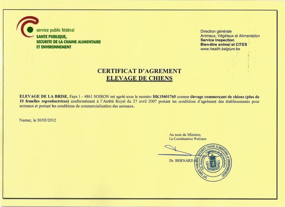 Certificat d'agrément